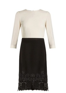 Oscar De La Renta Bi-colour lace-trimmed wool-blend crepe dress