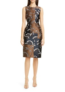 Oscar de la Renta Bicolor Floral Embroidered Sheath Dress