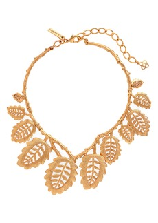 Oscar de la Renta Bischoff Lace Leaf Necklace