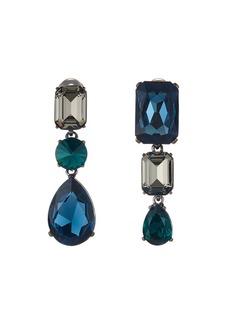 Oscar de la Renta Bold Crystal 3-Drop Clip-On Earrings