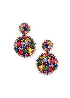 Oscar de la Renta Bold Disc Clip-On Earrings w/ Crystals