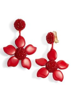 Oscar de la Renta Bold Enamel Flower Drop Earrings