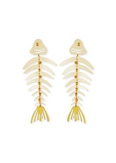 Oscar de la Renta Bold Fishbone Statement Clip-On Earrings