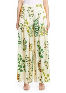 Oscar de la Renta Botanical Branches Wide Leg Silk Jacquard Pants