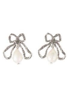 Oscar de la Renta Bow & Imitation Pearl Drop Earrings