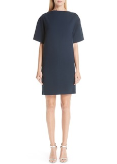 Oscar de la Renta Bow Back Stretch Wool Shift Dress