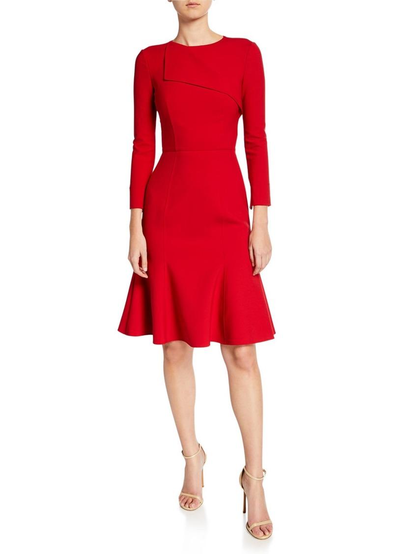 Oscar de la Renta Bracelet Sleeve Fold-Over Cocktail Dress