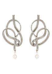Oscar de la Renta Braided Chain Imitation Pearl Drop Earrings