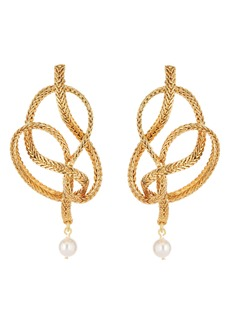 Oscar de la Renta Braided Chain Imitation Pearl Drop Earrings