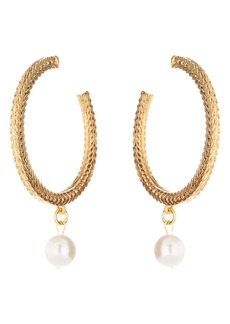 Oscar de la Renta Braided Chain Imitation Pearl Hoop Earrings