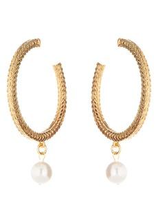 Oscar de la Renta Braided Chain Imitation Pearl Hoop Earrings