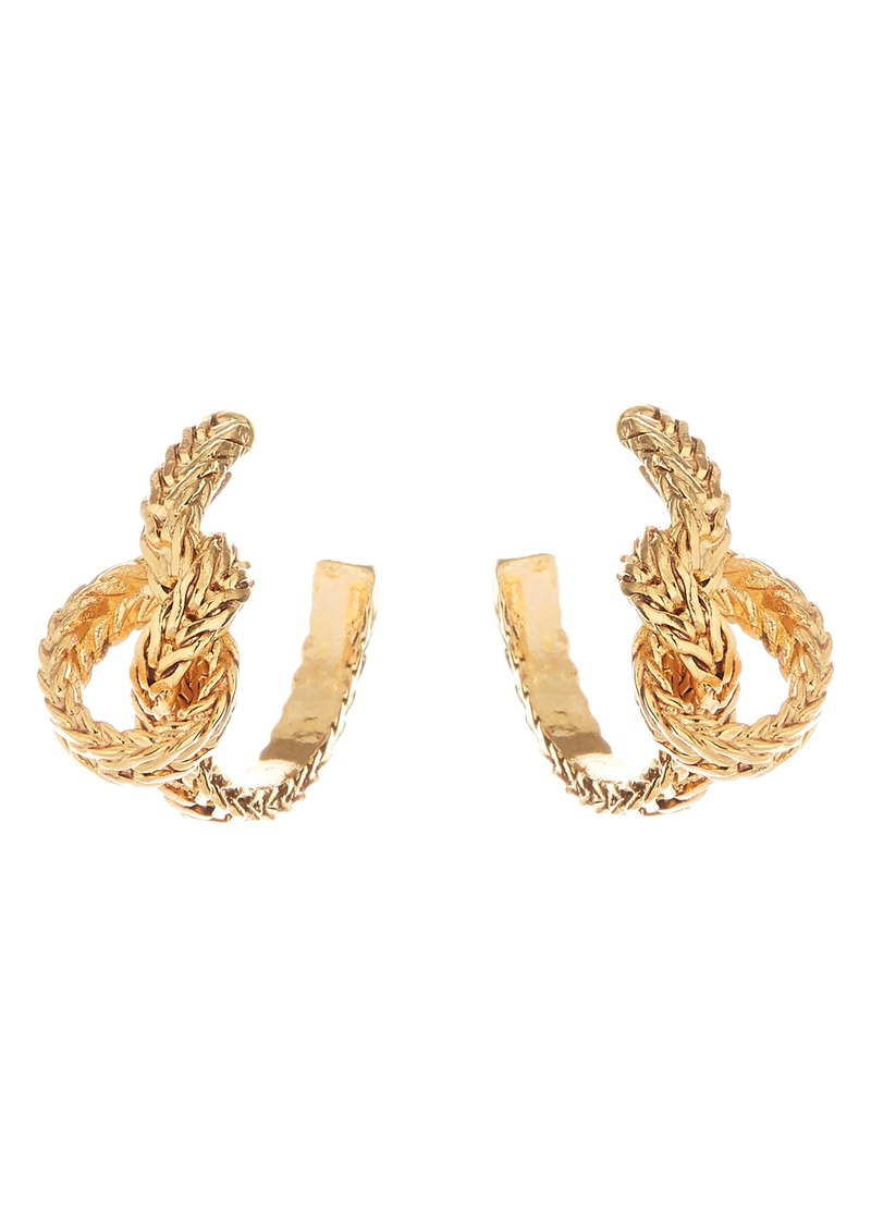 Oscar de la Renta Braided Knot Small Hoop Earrings