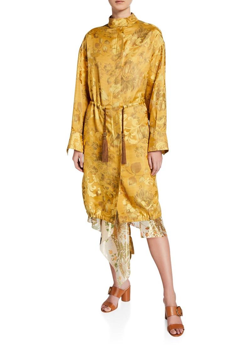 Oscar de la Renta Brocade Tie-Waist Anorak Coat