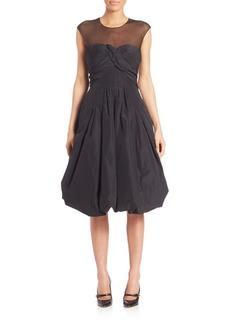 Oscar de la Renta Bubble Hem Silk Cocktail Dress