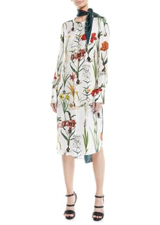 Oscar de la Renta Button-Front Long-Sleeve Enchanted-Forest Silk Dress