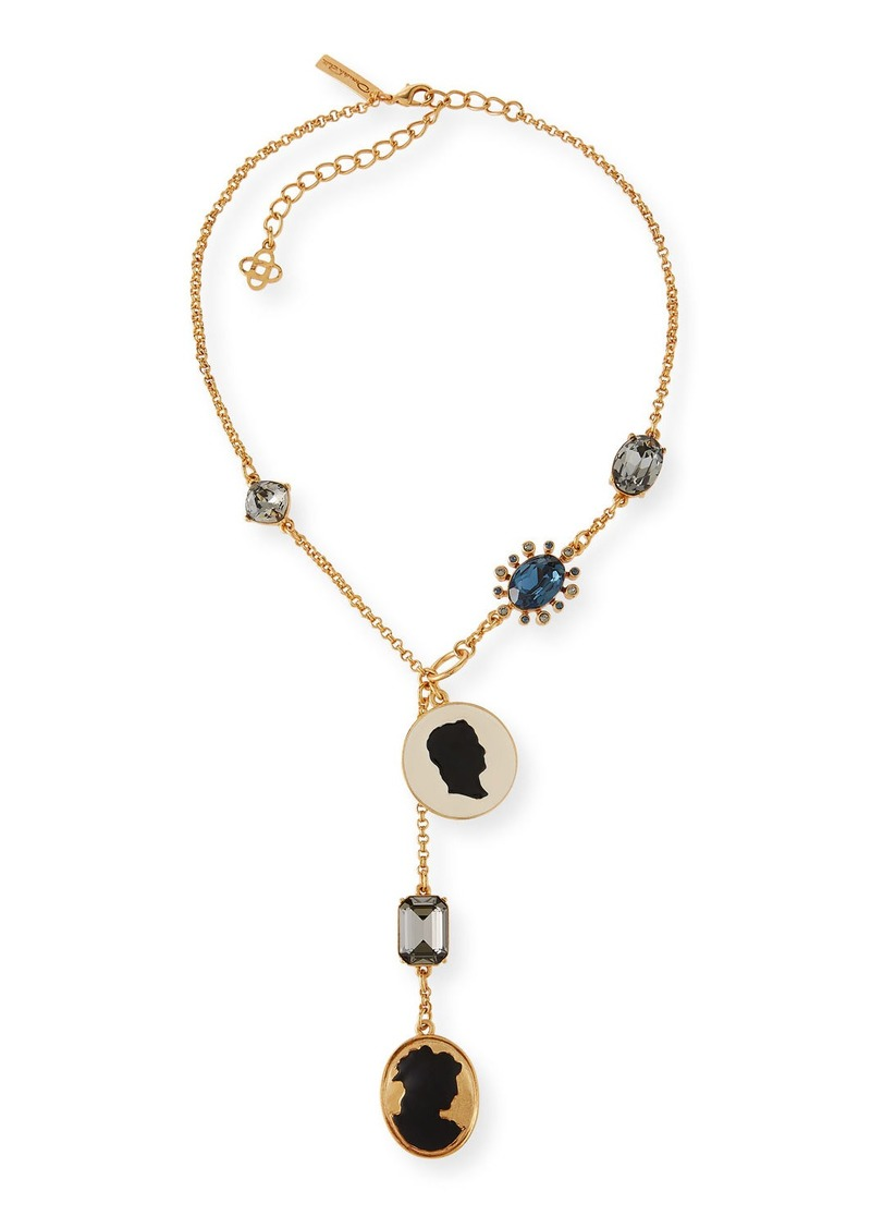 Oscar de la Renta Cameo & Crystal Y-Drop Necklace