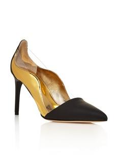 Oscar de la Renta Camille Wavy Metallic and Matte Leather Pointed Toe Pumps