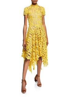Oscar de la Renta Cap-Sleeve Lace Illusion Cocktail Dress
