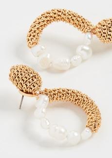 Oscar de la Renta Chain & Imitation Pearl Hoop Earrings