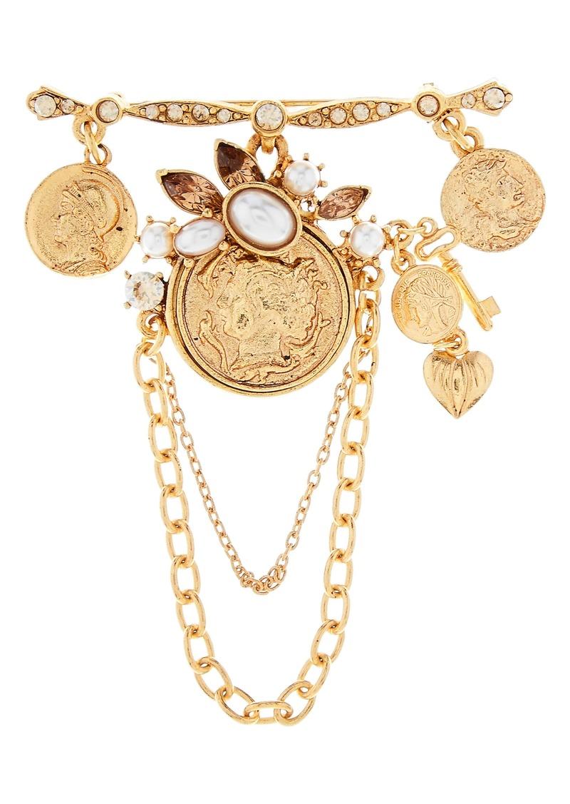 Oscar de la Renta Charm Coin Brooch