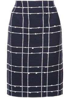 Oscar de la Renta checked straight skirt - Blue