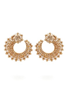 Oscar De La Renta Circular pavé-crystal earrings