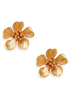 Oscar de la Renta Classic Flower Button Earrings