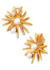 Oscar de la Renta Classic Sunburst Button Clip Earrings