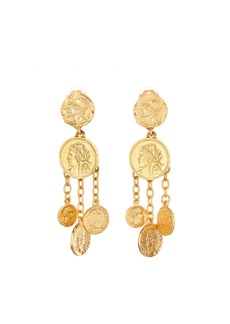 Oscar de la Renta Coin Chandelier Clip Earrings