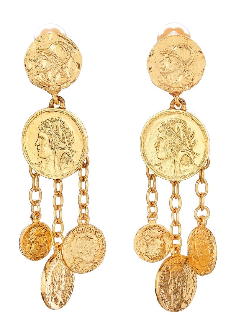 Oscar de la Renta Coin Chandelier Clip-On Earrings