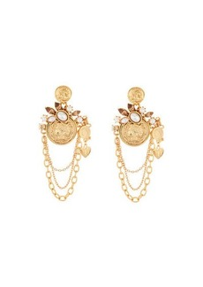 Oscar de la Renta Coin Charm-Chain Earrings