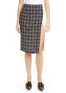 Oscar de la Renta Colorblock Tweed Skirt