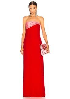 Oscar de la Renta Contrast Bodice Strapless Gown