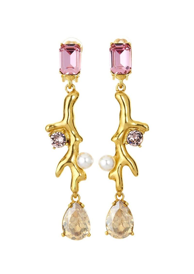 Oscar de la Renta Coral Crystal Drop Earrings