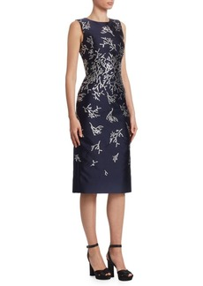 Oscar de la Renta Coral-Embroidered Sheath Dress