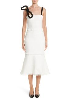 Oscar de la Renta Cord Strap Ribbon Tweed Dress