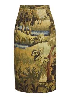 Oscar de la Renta Cotton-Jacquard Skirt