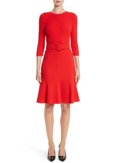 Oscar de la Renta Crepe Fit & Flare Dress