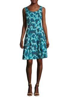 Oscar de la Renta Crepe Floral A-Line Dress