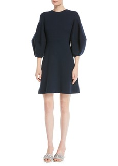 Oscar de la Renta Crewneck 3/4 Lantern-Sleeve A-Line Wool Crepe Cocktail Dress