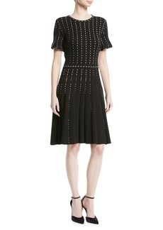 Oscar de la Renta Crewneck Short-Sleeve Pearl-Embroidered Knit Dress