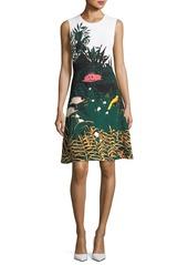 Oscar de la Renta Crewneck Sleeveless Meadow-Print Short Knit Dress