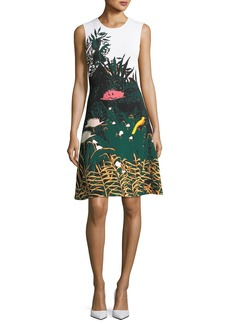 Oscar de la Renta Crewneck Sleeveless Meadow-Print Short Knit Dress