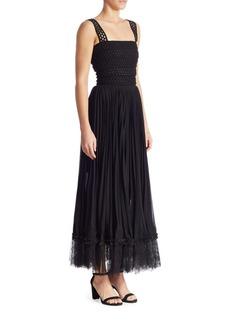 Oscar de la Renta Crochet Pleated Dress