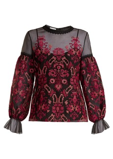 Oscar De La Renta Cross-stitch embroidered silk-organza top
