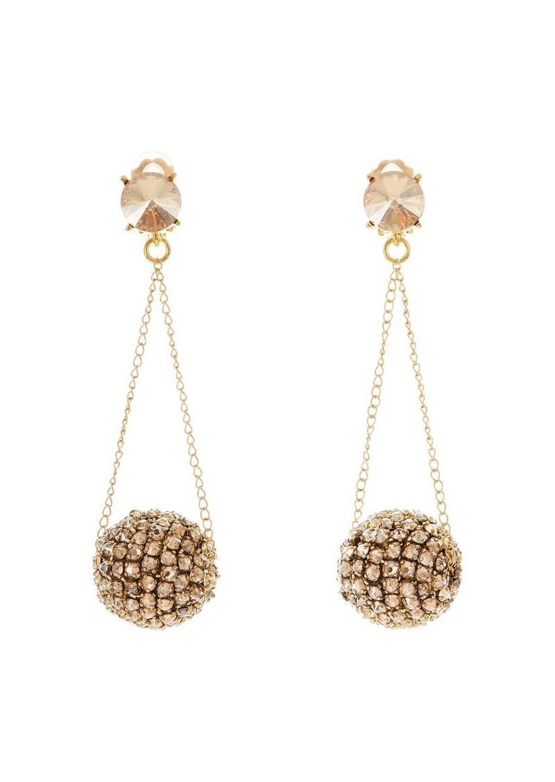 Oscar de la Renta Crystal & Chain Clip-On Drop Earrings