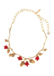 Oscar de la Renta Crystal & Resin Flower Bud Necklace