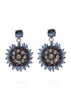 Oscar De La Renta Crystal and bead-embellished floral-drop earrings