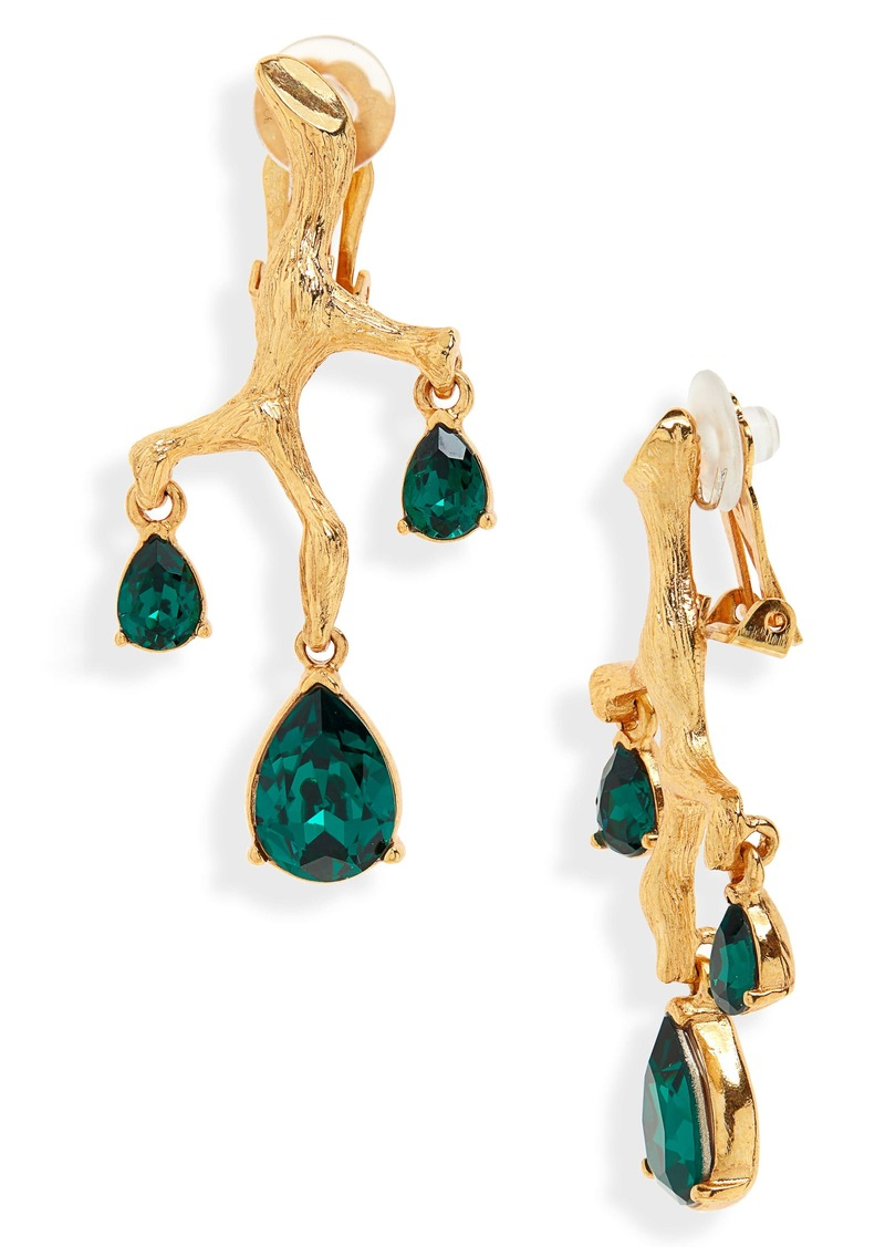 Oscar de la Renta Crystal Branch Earrings
