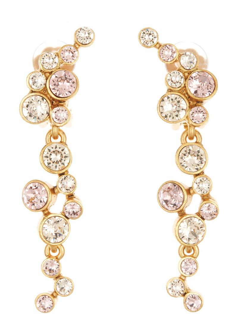 Oscar de la Renta Crystal Cluster Linear Clip Earrings
